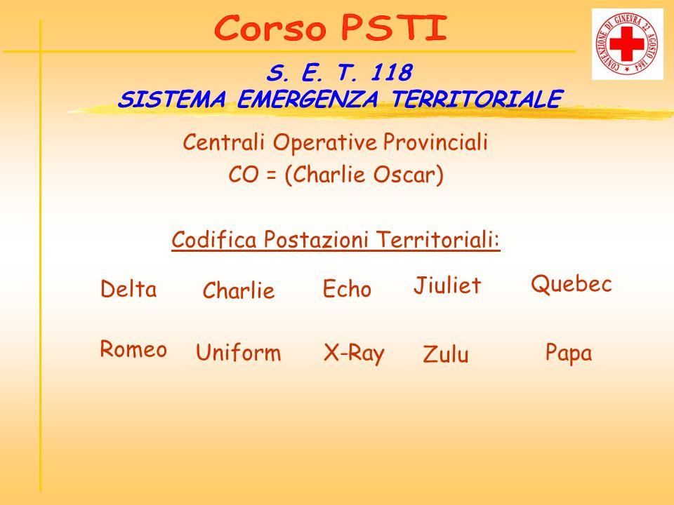 Centrali Operative Provinciali CO = (Charlie Oscar) Codifica Postazioni Territoriali: S. E. T. 118 SISTEMA EMERGENZA TERRITORIALE Delta Charlie Echo J