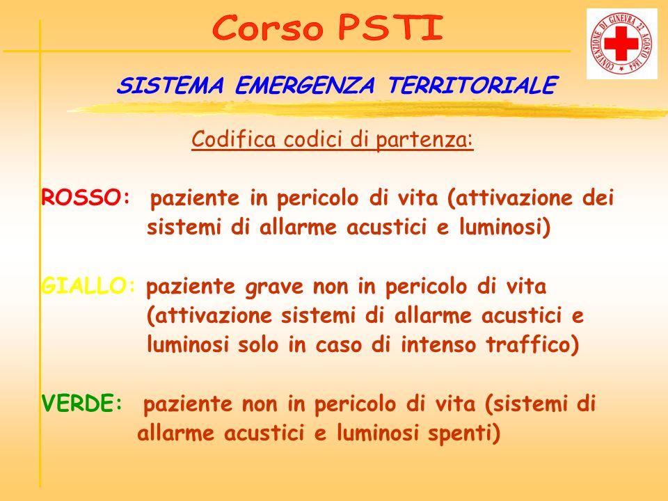 Codifica codici di partenza: ROSSO: paziente in pericolo di vita (attivazione dei sistemi di allarme acustici e luminosi) GIALLO: paziente grave non i