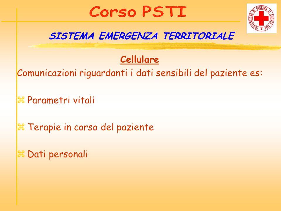 Cellulare Comunicazioni riguardanti i dati sensibili del paziente es: zParametri vitali zTerapie in corso del paziente zDati personali SISTEMA EMERGEN