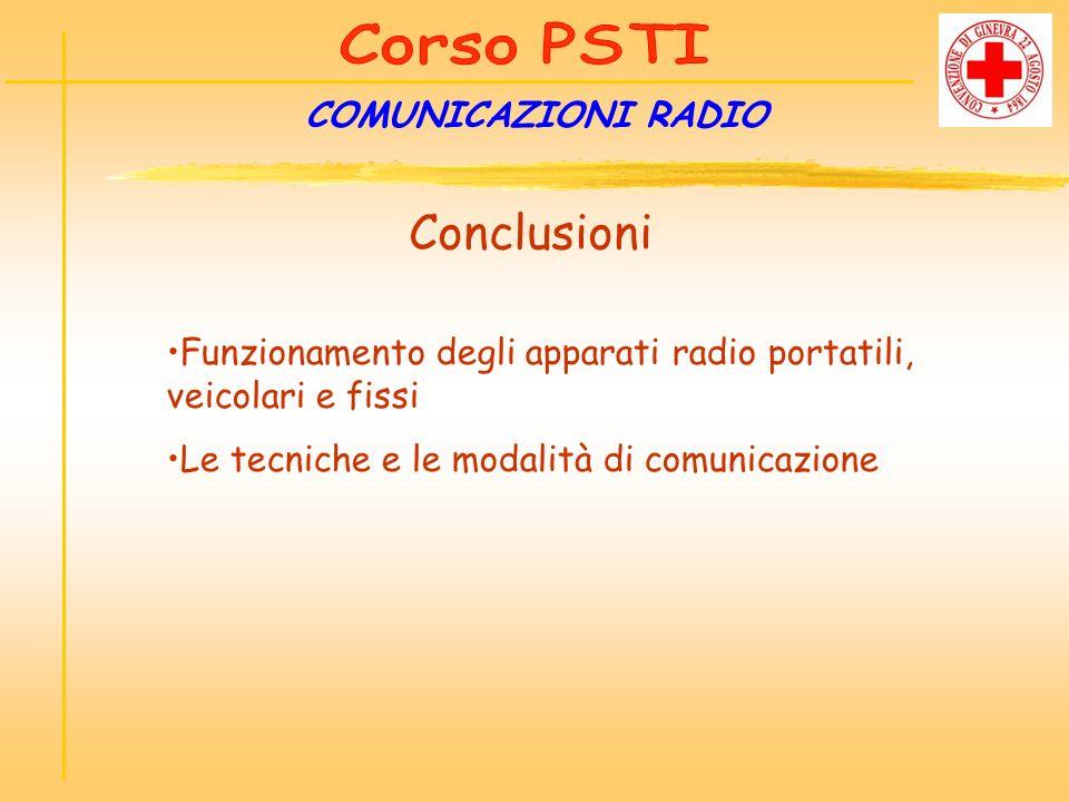 COMUNICAZIONI RADIO Conclusioni Funzionamento degli apparati radio portatili, veicolari e fissi Le tecniche e le modalità di comunicazione