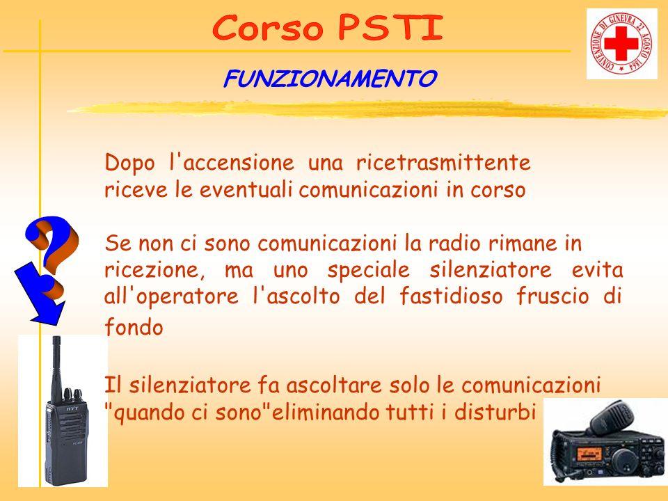 FUNZIONAMENTO Dopo l'accensione una ricetrasmittente riceve le eventuali comunicazioni in corso Se non ci sono comunicazioni la radio rimane in ricezi