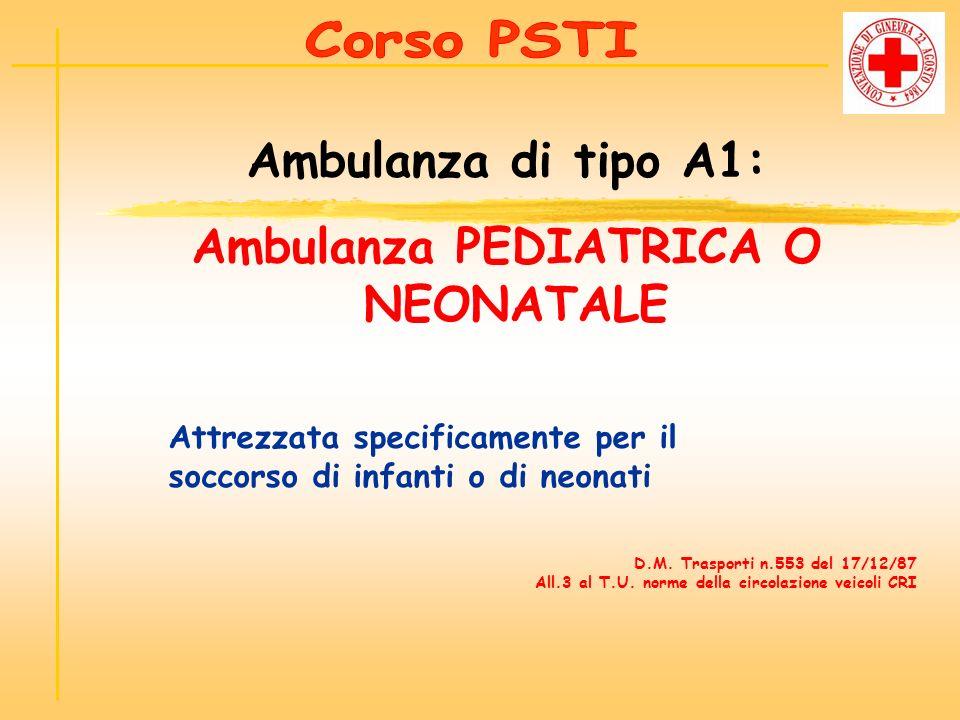 Attrezzata specificamente per il soccorso di infanti o di neonati Ambulanza di tipo A1: Ambulanza PEDIATRICA O NEONATALE D.M. Trasporti n.553 del 17/1