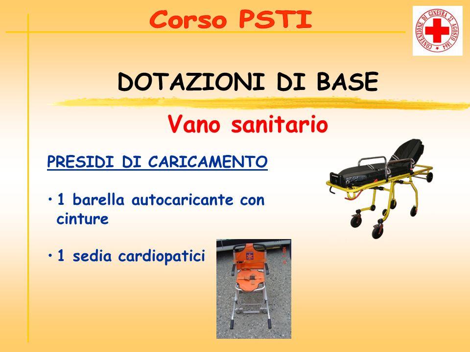 PRESIDI DI CARICAMENTO 1 barella autocaricante con cinture 1 sedia cardiopatici DOTAZIONI DI BASE Vano sanitario