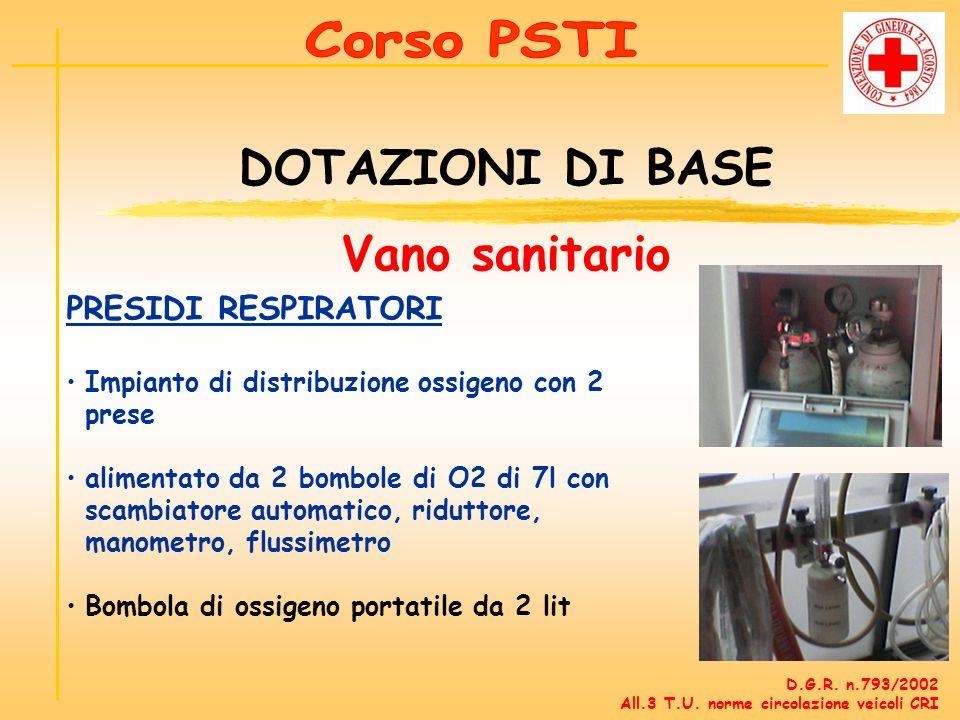 PRESIDI RESPIRATORI Impianto di distribuzione ossigeno con 2 prese alimentato da 2 bombole di O2 di 7l con scambiatore automatico, riduttore, manometr
