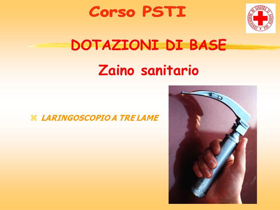 zLARINGOSCOPIO A TRE LAME DOTAZIONI DI BASE Zaino sanitario