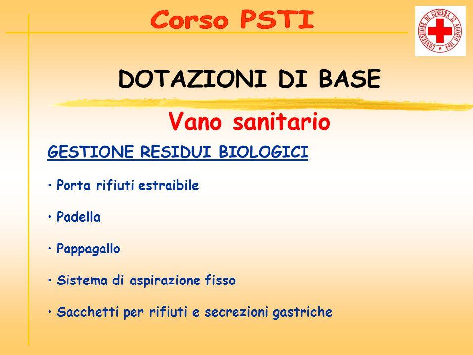 GESTIONE RESIDUI BIOLOGICI Porta rifiuti estraibile Padella Pappagallo Sistema di aspirazione fisso Sacchetti per rifiuti e secrezioni gastriche DOTAZ