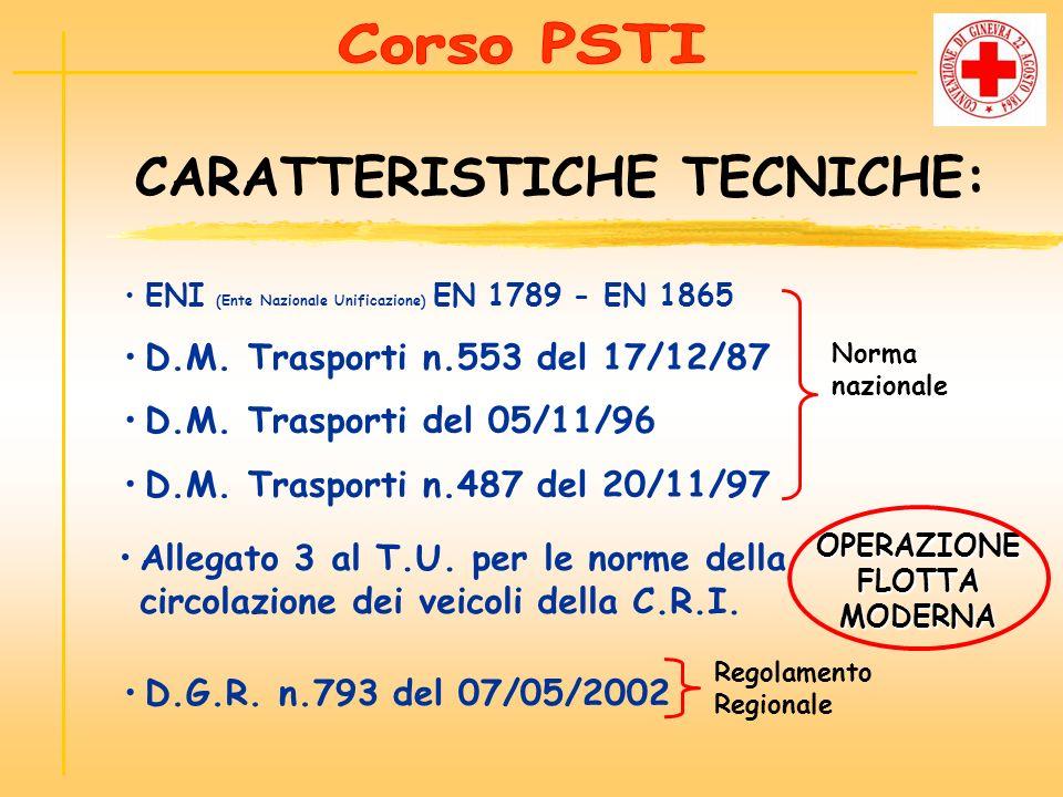 ENI (Ente Nazionale Unificazione) EN 1789 - EN 1865 D.M. Trasporti n.553 del 17/12/87 D.M. Trasporti del 05/11/96 D.M. Trasporti n.487 del 20/11/97 CA