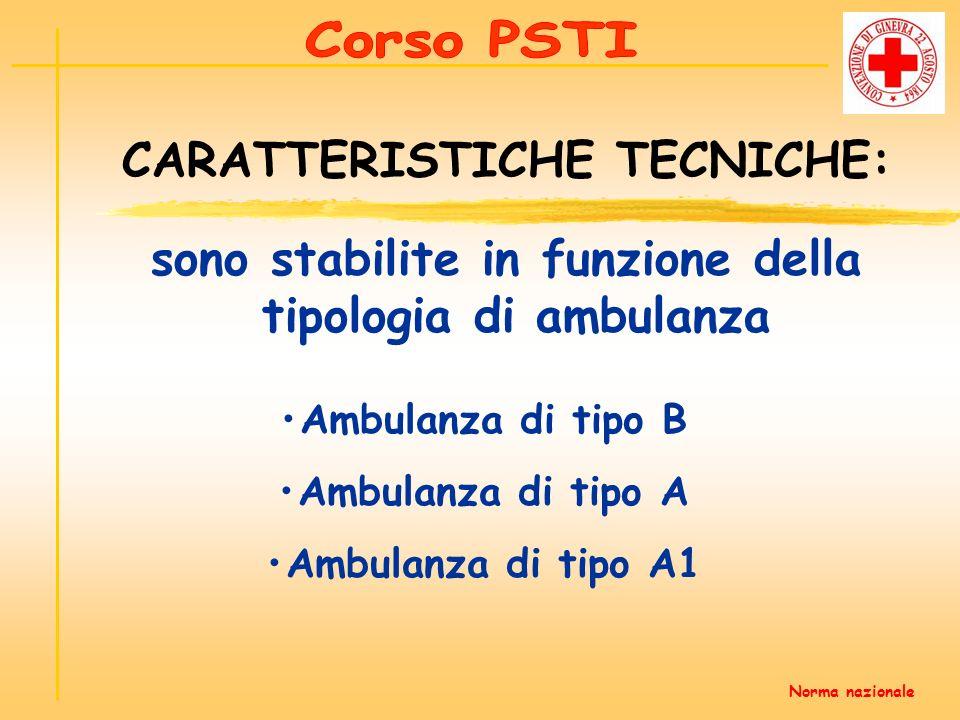 Ambulanza di tipo B Ambulanza di tipo A Ambulanza di tipo A1 sono stabilite in funzione della tipologia di ambulanza CARATTERISTICHE TECNICHE: Norma n