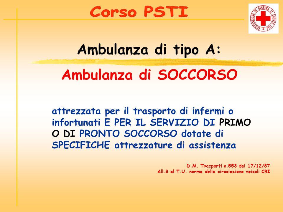 Adibita al trasporto ed al TRATTAMENTO DI BASE ed al MONITORAGGIO DEI PAZIENTI Ambulanza di tipo A1: Ambulanza di SOCCORSO PER EMERGENZE SPECIALI D.M.