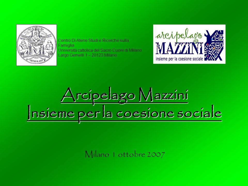 Arcipelago Mazzini Insieme per la coesione sociale Centro Di Atene Studi e Ricerche sulla Famiglia Università cattolica del Sacro Cuore di Milano Largo Gemelli,1 – 20123 Milano Milano 1 ottobre 2007