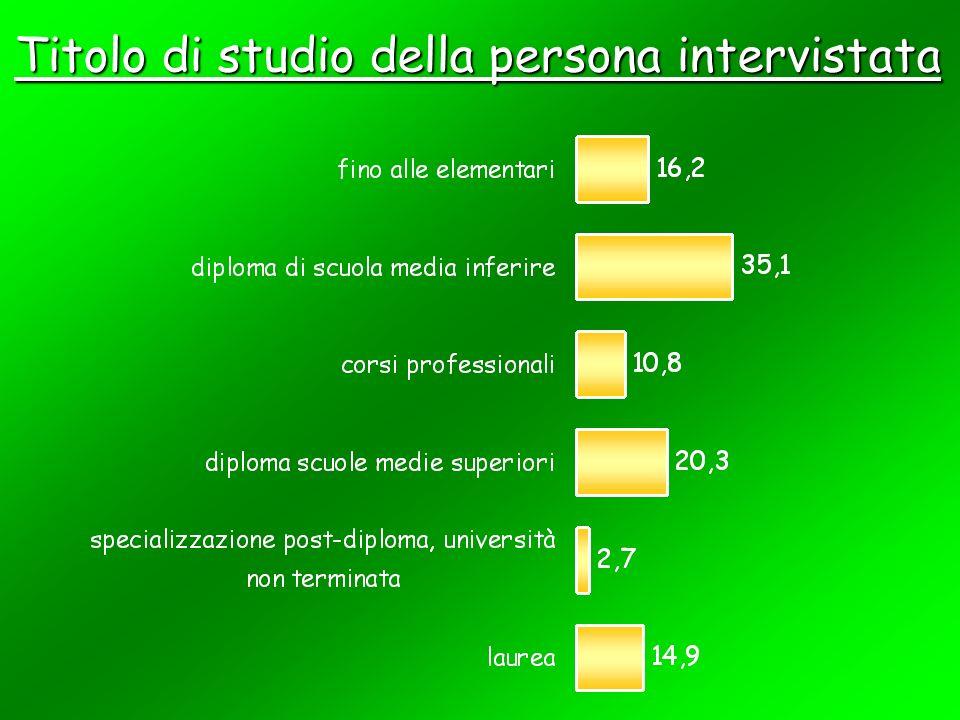 Titolo di studio della persona intervistata