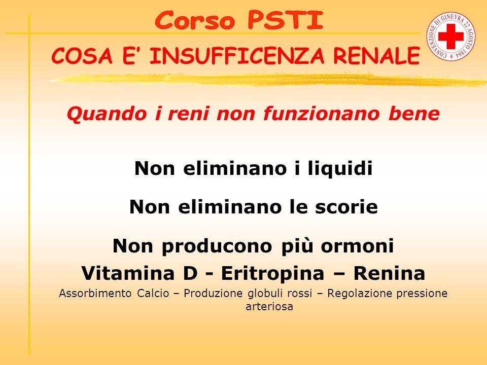 COSA E INSUFFICENZA RENALE Quando i reni non funzionano bene Non eliminano i liquidi Non eliminano le scorie Non producono più ormoni Vitamina D - Eri