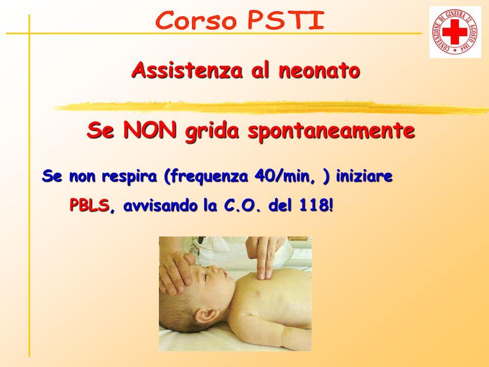 Assistenza al neonato Se NON grida spontaneamente Se non respira (frequenza 40/min, ) iniziare PBLS, avvisando la C.O. del 118! PBLS, avvisando la C.O