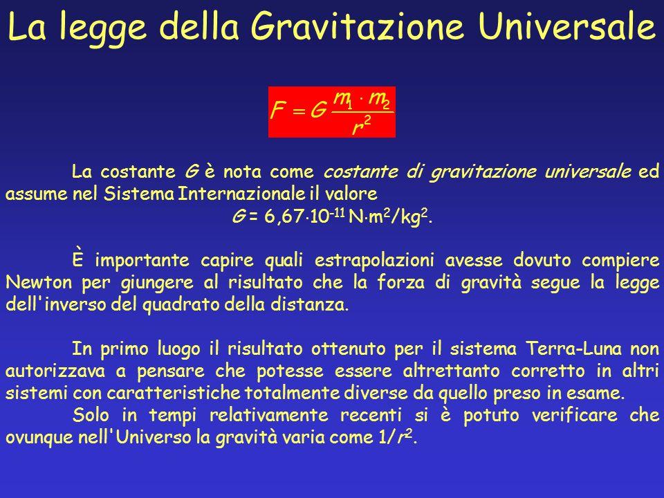 La costante G è nota come costante di gravitazione universale ed assume nel Sistema Internazionale il valore G = 6,67 10 -11 N m 2 /kg 2. È importante