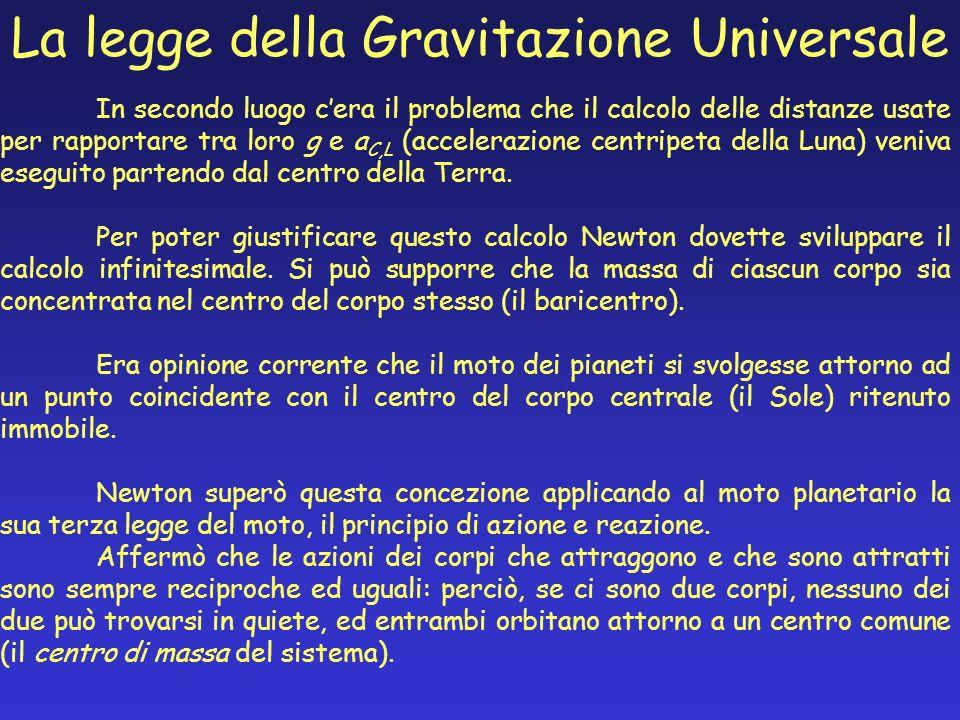 In secondo luogo cera il problema che il calcolo delle distanze usate per rapportare tra loro g e a C,L (accelerazione centripeta della Luna) veniva e