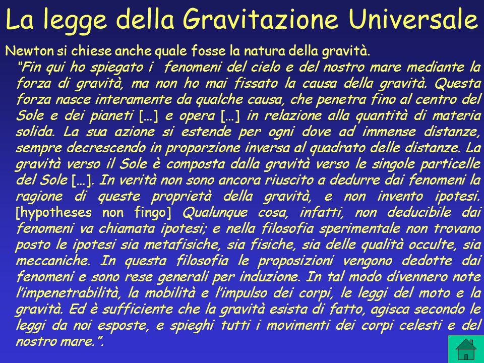 Newton si chiese anche quale fosse la natura della gravità. Fin qui ho spiegato i fenomeni del cielo e del nostro mare mediante la forza di gravità, m
