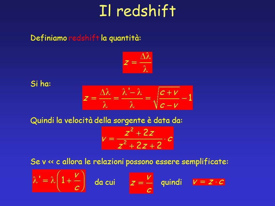 Il redshift Definiamo redshift la quantità: Si ha: Quindi la velocità della sorgente è data da: Se v << c allora le relazioni possono essere semplific