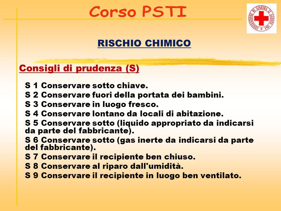 RISCHIO CHIMICO Consigli di prudenza (S) S 1 Conservare sotto chiave. S 2 Conservare fuori della portata dei bambini. S 3 Conservare in luogo fresco.