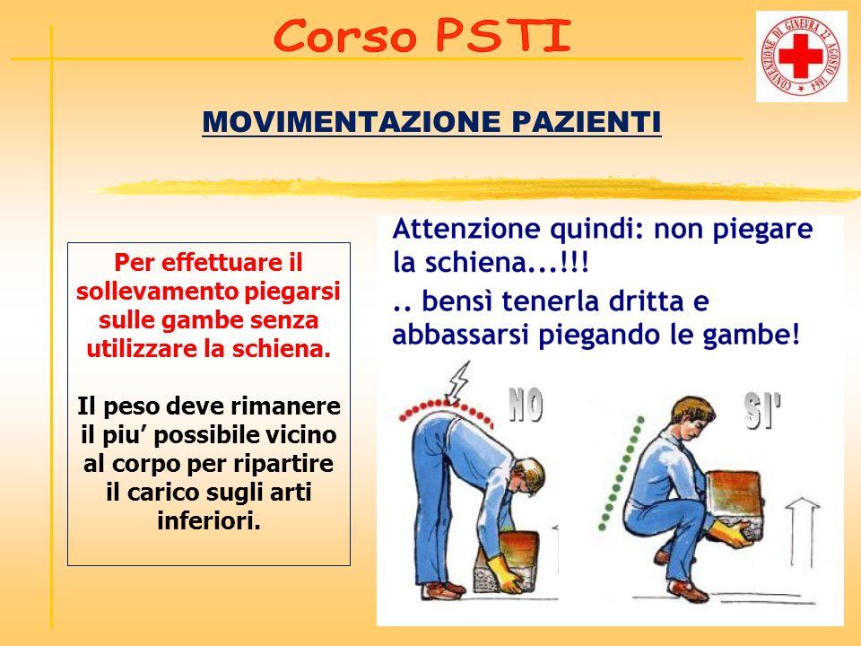 MOVIMENTAZIONE PAZIENTI Per effettuare il sollevamento piegarsi sulle gambe senza utilizzare la schiena. Il peso deve rimanere il piu possibile vicino