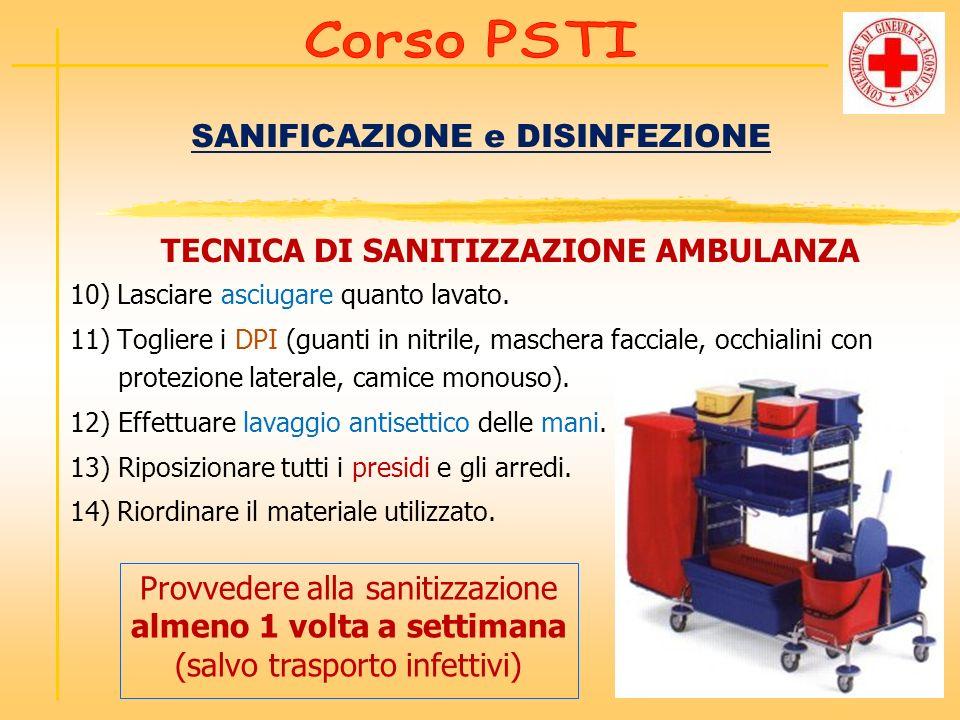 SANIFICAZIONE e DISINFEZIONE TECNICA DI SANITIZZAZIONE AMBULANZA 10) Lasciare asciugare quanto lavato. 11) Togliere i DPI (guanti in nitrile, maschera