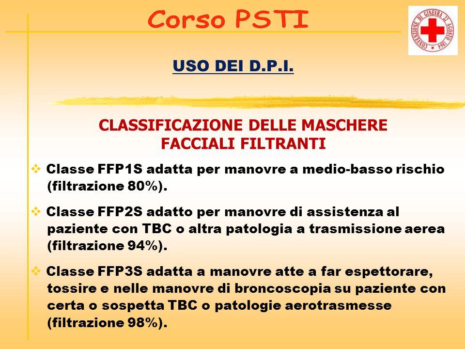 USO DEI D.P.I. CLASSIFICAZIONE DELLE MASCHERE FACCIALI FILTRANTI Classe FFP1S adatta per manovre a medio-basso rischio (filtrazione 80%). Classe FFP2S