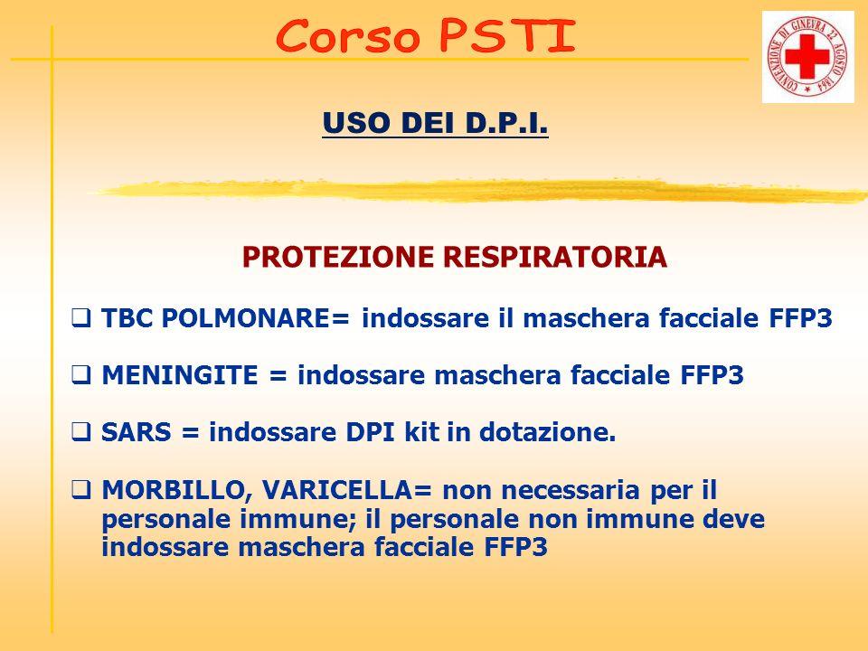 USO DEI D.P.I. PROTEZIONE RESPIRATORIA TBC POLMONARE= indossare il maschera facciale FFP3 MENINGITE = indossare maschera facciale FFP3 SARS = indossar