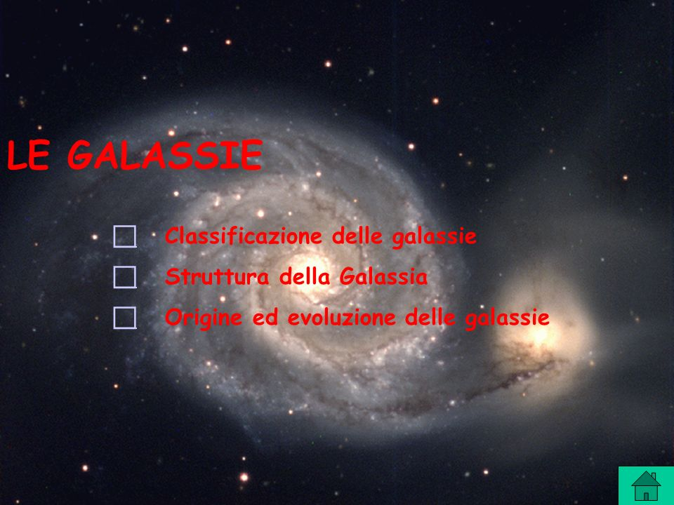 LE GALASSIE Classificazione delle galassie Struttura della Galassia Origine ed evoluzione delle galassie