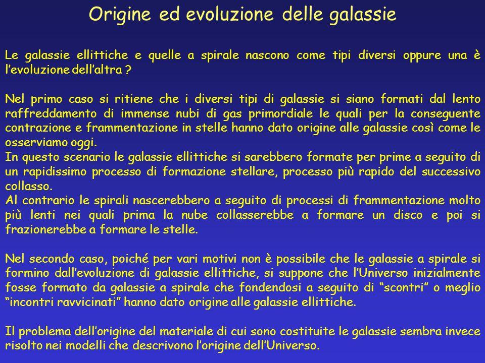 Origine ed evoluzione delle galassie Le galassie ellittiche e quelle a spirale nascono come tipi diversi oppure una è levoluzione dellaltra ? Nel prim