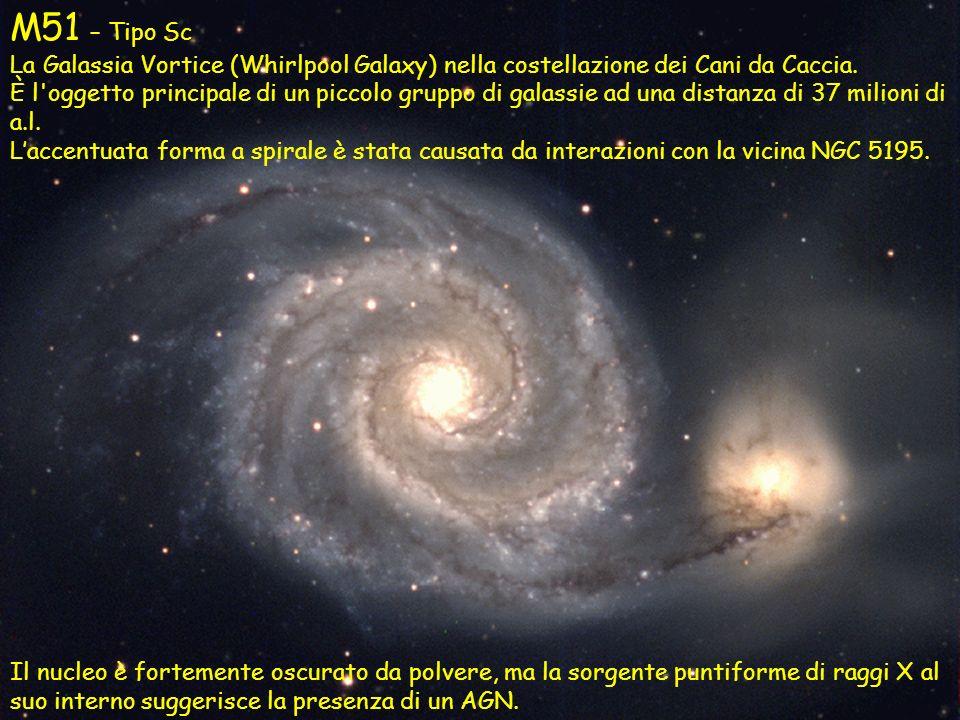 M51 – Tipo Sc La Galassia Vortice (Whirlpool Galaxy) nella costellazione dei Cani da Caccia. È l'oggetto principale di un piccolo gruppo di galassie a