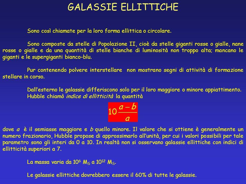 GALASSIE ELLITTICHE Sono così chiamate per la loro forma ellittica o circolare. Sono composte da stelle di Popolazione II, cioè da stelle giganti ross