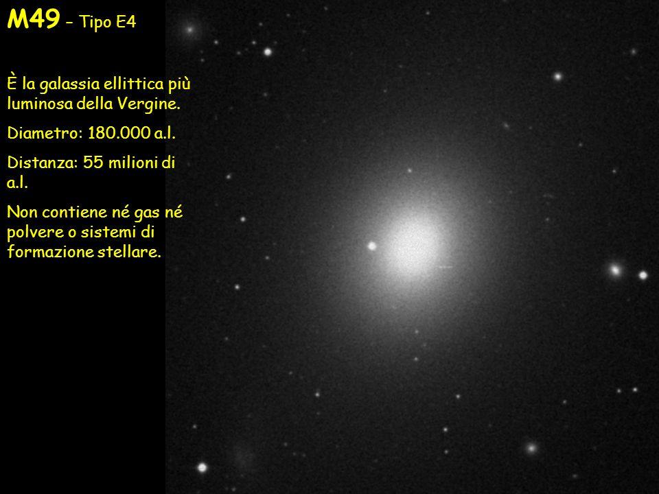 M49 – Tipo E4 È la galassia ellittica più luminosa della Vergine. Diametro: 180.000 a.l. Distanza: 55 milioni di a.l. Non contiene né gas né polvere o