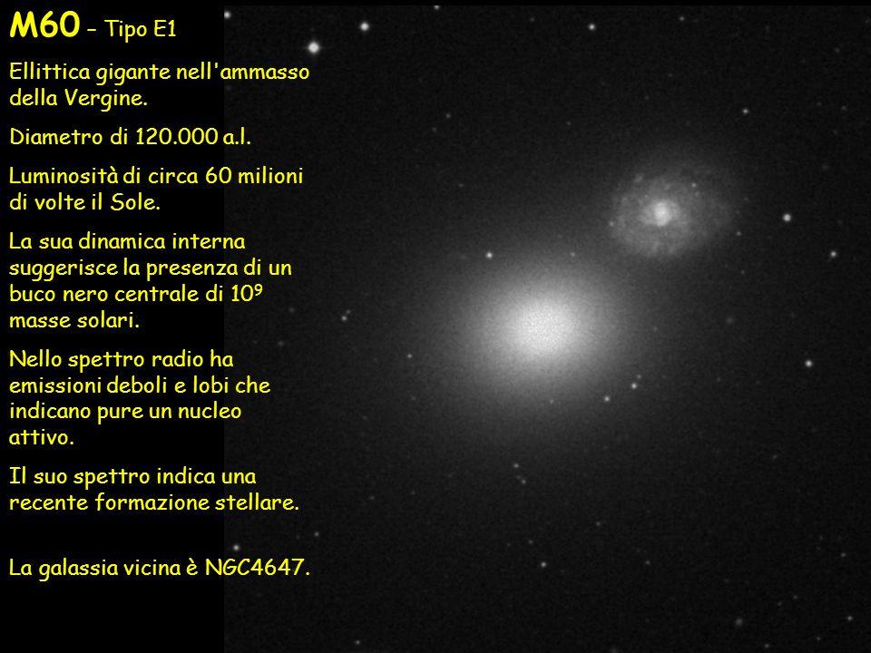 M60 – Tipo E1 Ellittica gigante nell'ammasso della Vergine. Diametro di 120.000 a.l. Luminosità di circa 60 milioni di volte il Sole. La sua dinamica