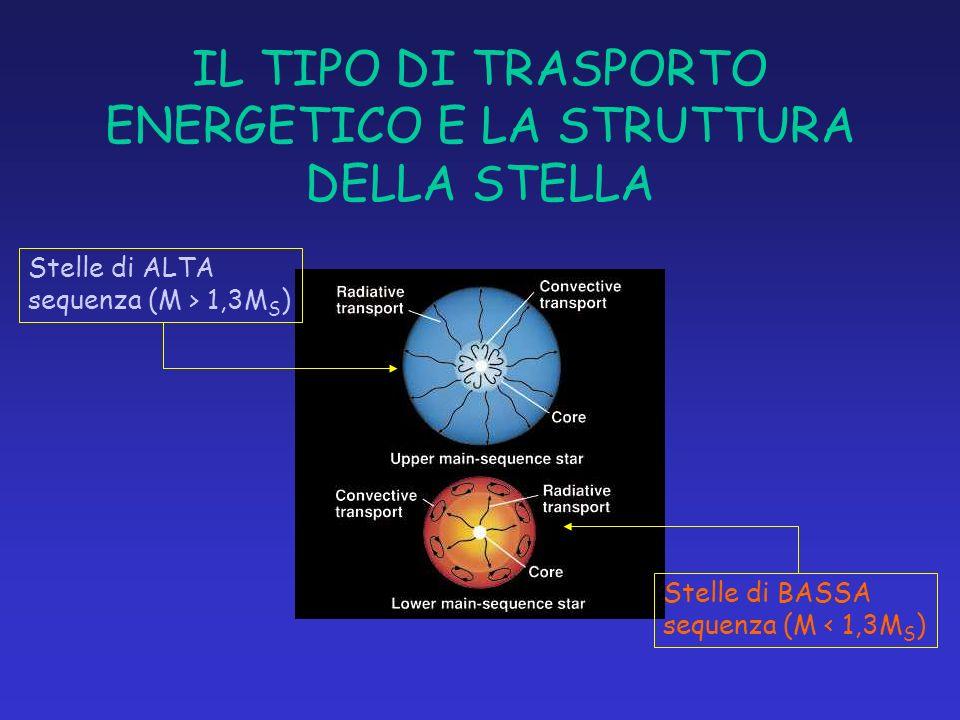 IL TIPO DI TRASPORTO ENERGETICO E LA STRUTTURA DELLA STELLA Stelle di ALTA sequenza (M > 1,3M S ) Stelle di BASSA sequenza (M < 1,3M S )