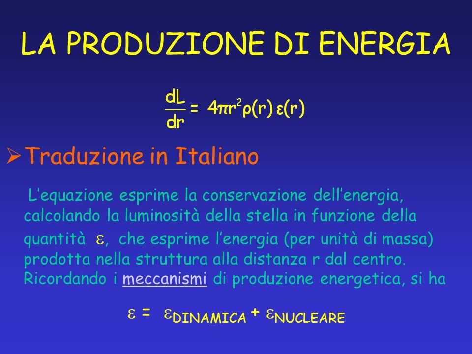 LA PRODUZIONE DI ENERGIA Traduzione in Italiano Lequazione esprime la conservazione dellenergia, calcolando la luminosità della stella in funzione del