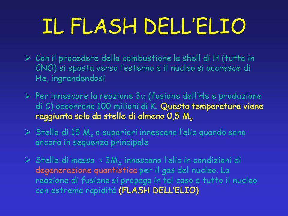 IL FLASH DELLELIO Con il procedere della combustione la shell di H (tutta in CNO) si sposta verso lesterno e il nucleo si accresce di He, ingrandendos