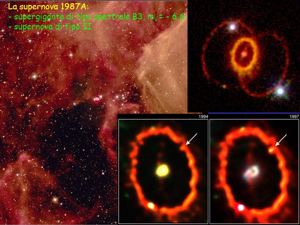 La supernova 1987A: - supergigante di tipo spettrale B3, m V = - 6,6 - supernova di tipo II