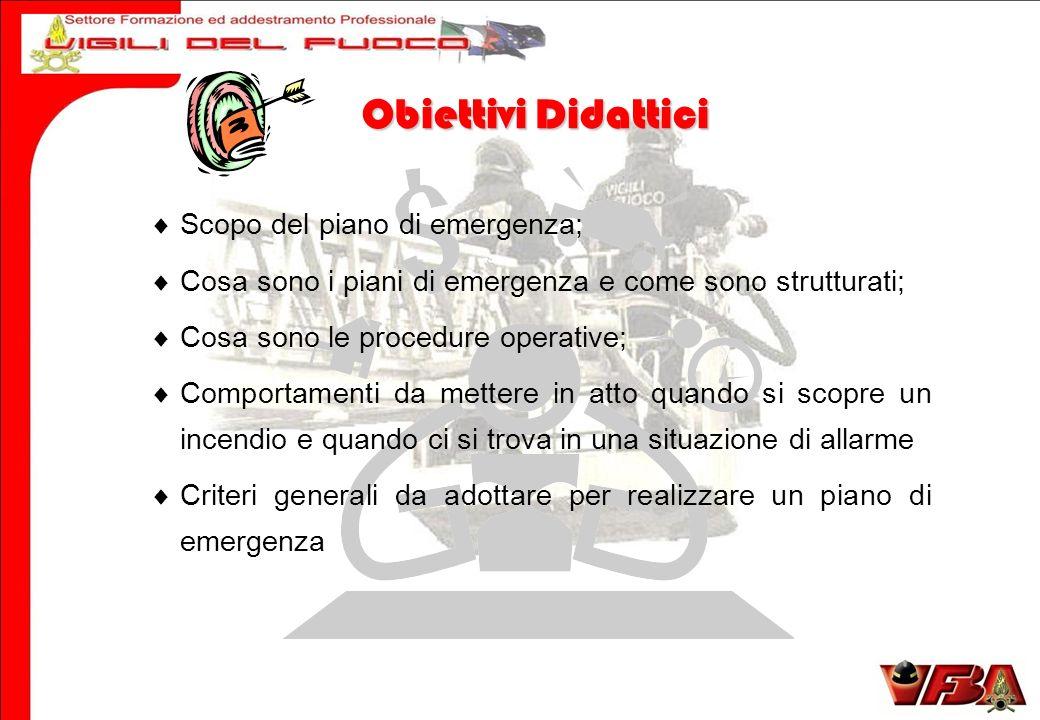 Scopo del piano di emergenza; Cosa sono i piani di emergenza e come sono strutturati; Cosa sono le procedure operative; Comportamenti da mettere in at
