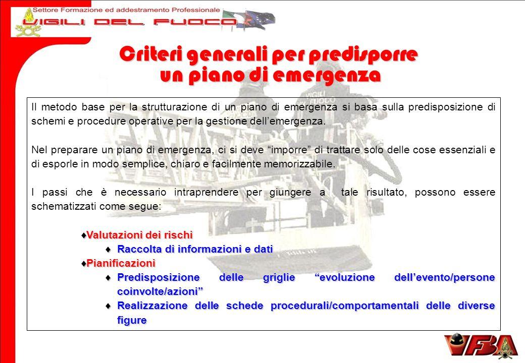 Il metodo base per la strutturazione di un piano di emergenza si basa sulla predisposizione di schemi e procedure operative per la gestione dellemergenza.