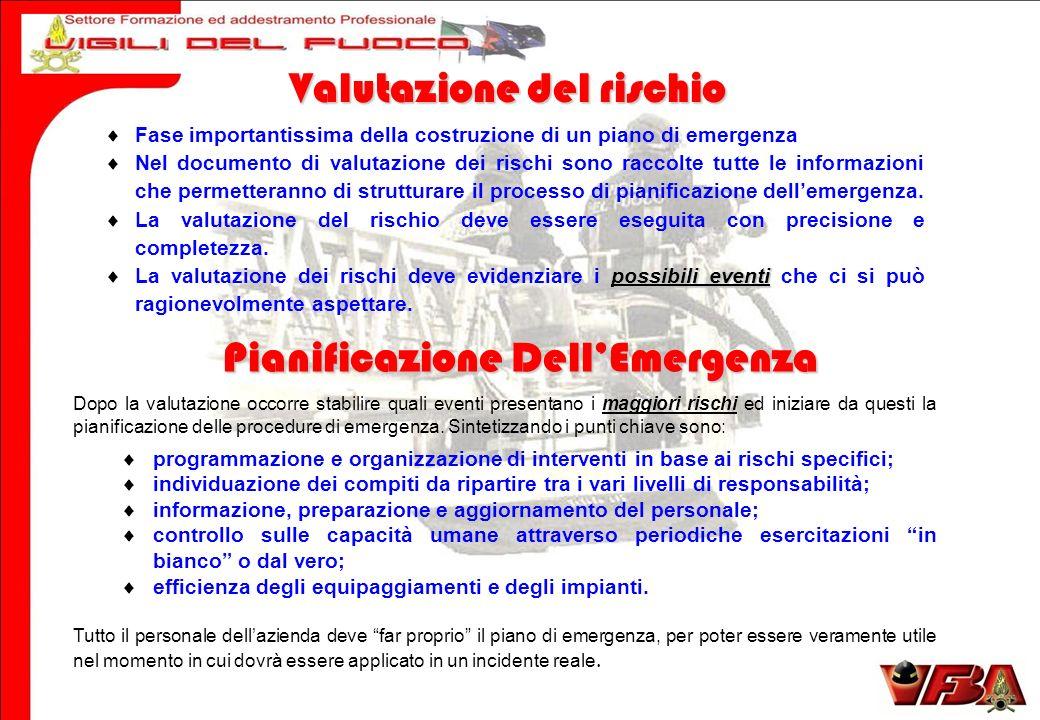 Dopo la valutazione occorre stabilire quali eventi presentano i maggiori rischi ed iniziare da questi la pianificazione delle procedure di emergenza.