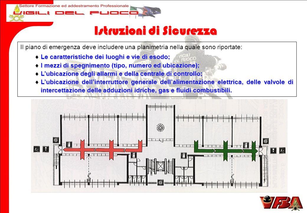 Il piano di emergenza deve includere una planimetria nella quale sono riportate: Le caratteristiche dei luoghi e vie di esodo; Le caratteristiche dei