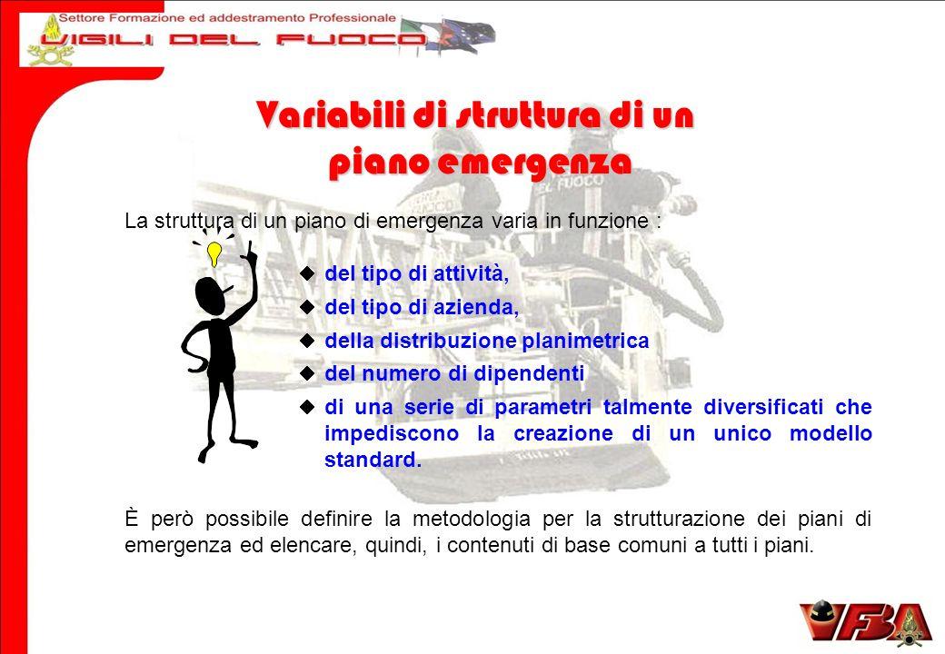 La struttura di un piano di emergenza varia in funzione : del tipo di attività, del tipo di azienda, della distribuzione planimetrica del numero di di