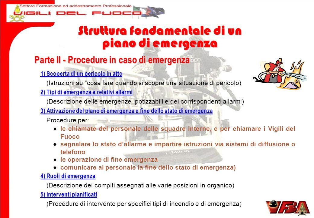 Parte II - Procedure in caso di emergenza 1) Scoperta di un pericolo in atto (Istruzioni su cosa fare quando si scopre una situazione di pericolo) 2)