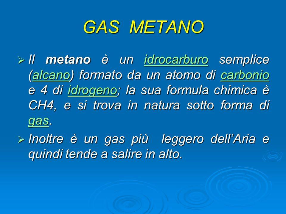 GAS METANO Il metano è un idrocarburo semplice (alcano) formato da un atomo di carbonio e 4 di idrogeno; la sua formula chimica è CH4, e si trova in n
