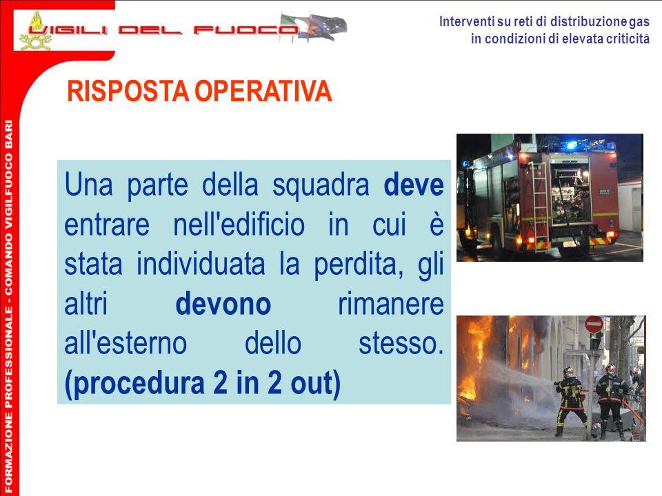 Interventi su reti di distribuzione gas in condizioni di elevata criticità RISPOSTA OPERATIVA Una parte della squadra deve entrare nell'edificio in cu