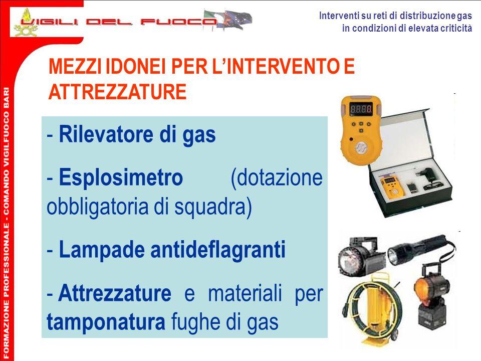 Interventi su reti di distribuzione gas in condizioni di elevata criticità MEZZI IDONEI PER LINTERVENTO E ATTREZZATURE - Rilevatore di gas - Esplosime