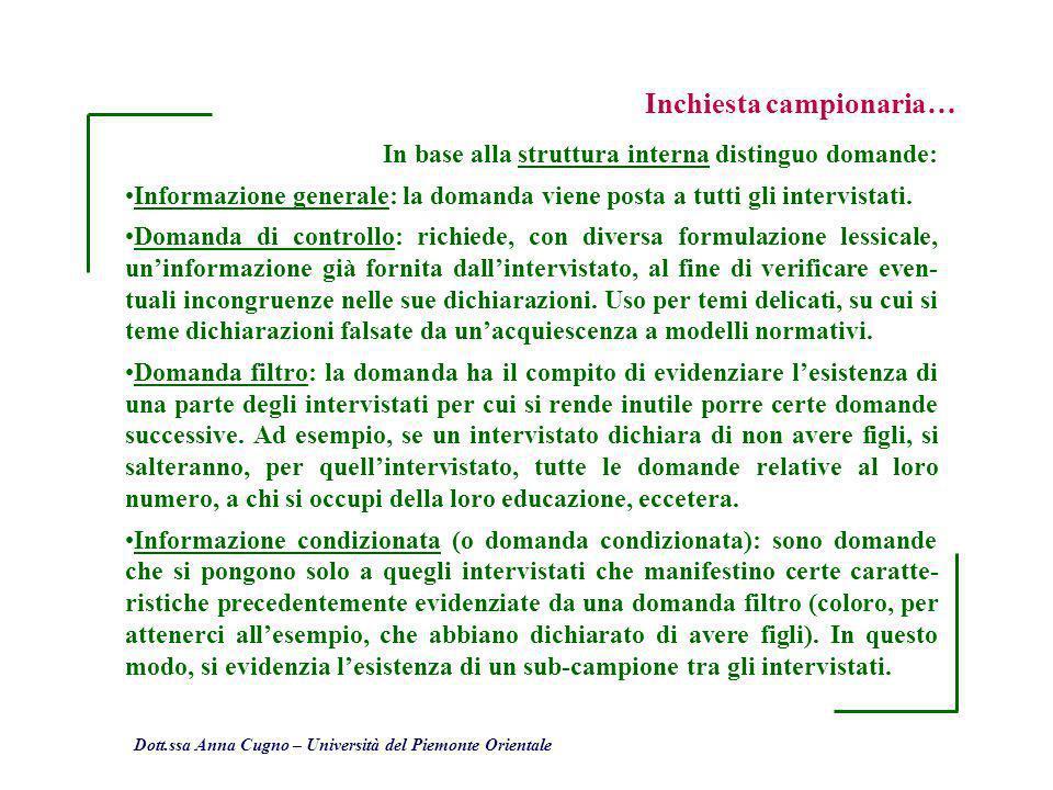 Dott.ssa Anna Cugno – Università del Piemonte Orientale Inchiesta campionaria… In base alla struttura interna distinguo domande: Informazione generale