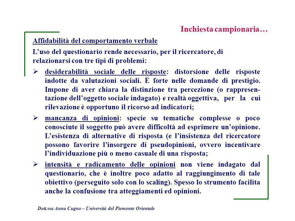 Dott.ssa Anna Cugno – Università del Piemonte Orientale Inchiesta campionaria… Affidabilità del comportamento verbale Luso del questionario rende nece