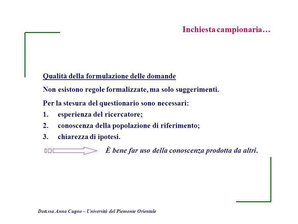 Dott.ssa Anna Cugno – Università del Piemonte Orientale Inchiesta campionaria… Qualità della formulazione delle domande Non esistono regole formalizza