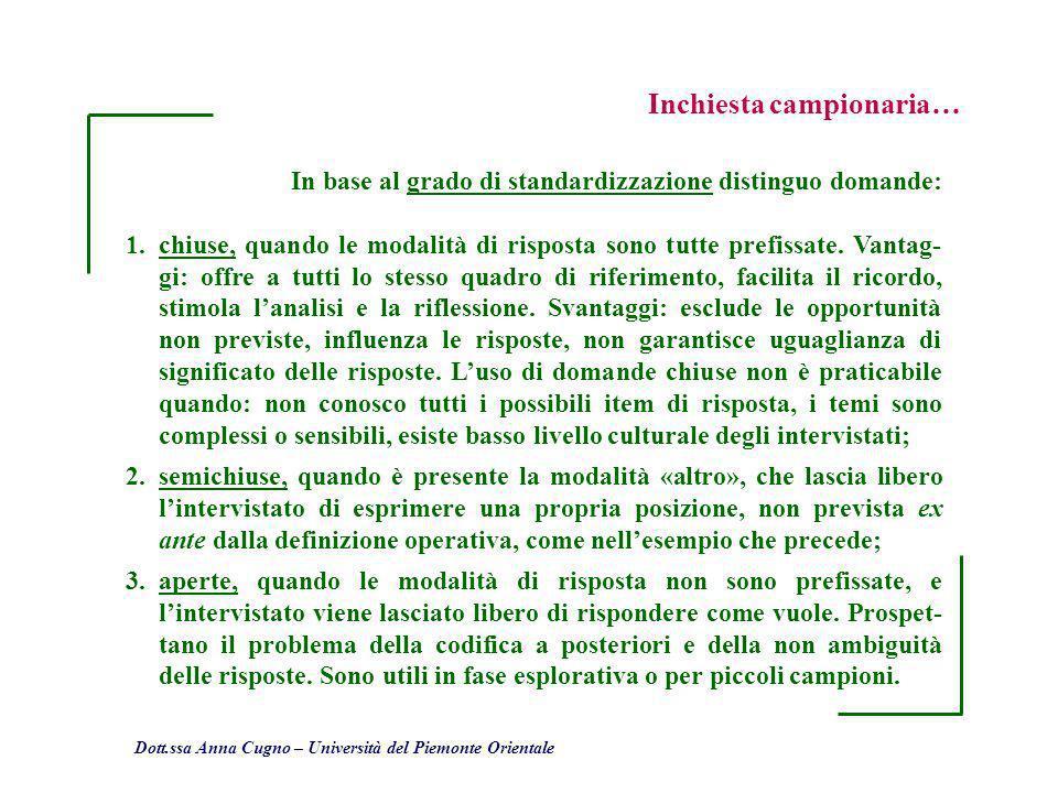Dott.ssa Anna Cugno – Università del Piemonte Orientale Inchiesta campionaria… In base al grado di standardizzazione distinguo domande: 1.chiuse, quan