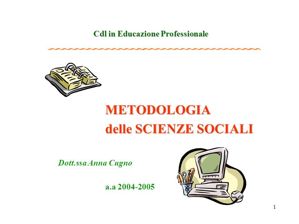 1 Cdl in Educazione Professionale METODOLOGIA delle SCIENZE SOCIALI Dott.ssa Anna Cugno a.a 2004-2005